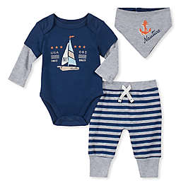 Nautica® 3-Piece Sailboat Bodysuit, Pant, and Bib Set in Navy/Grey