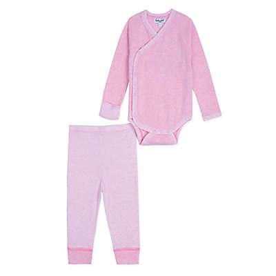 Splendid Kids 2-Piece Kimono-Style Long Sleeve Heather Bodysuit and Pant Set in Pink