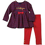 Tommy Hilfiger® Size 3-6M 2-Piece Striped Top and Legging Set in Navy