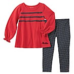 Nautica® Size 3-6M 2-Piece Long Sleeve Ribbon Bow Top and Geo Pant Set in Red