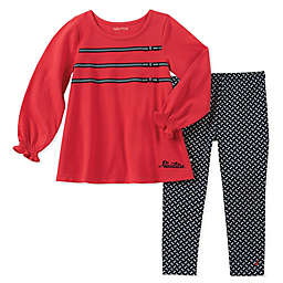 Nautica® 2-Piece Long Sleeve Ribbon Bow Top and Geo Pant Set in Red