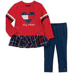 Tommy Hilfiger® 2-Piece Heart Print Top and Pant Set in Red