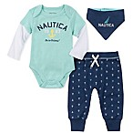 Nautica® Size 0-3M 3-Piece Anchor Bodysuit, Pant, and Bib Set in White/Navy