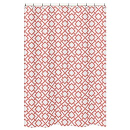 Sweet Jojo Designs Mod Diamond Shower Curtain in White/Coral