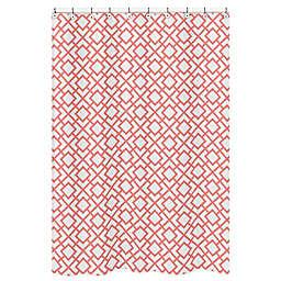 Sweet Jojo Designs Mod Diamond Shower Curtain in White/Coral