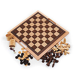Hey! Play! 70-Piece Deluxe Wooden Chess/Backgammon/Checker Set