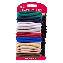 Harmon® Face Values™ 70-Count Elastic Band Ponytail Holders in Black and Multi