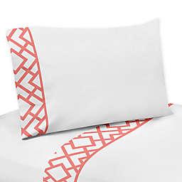 Sweet Jojo Designs Mod Diamond Sheet Set in White/Coral