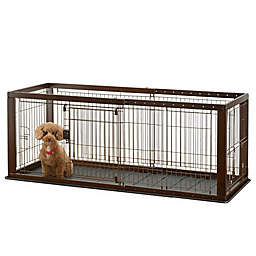 Richell® Expandable Pet Crate with Floor Tray in Brown