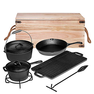 Bruntmor™ Nonstick Cast Iron 7-Piece Camping Cookware Set with Box