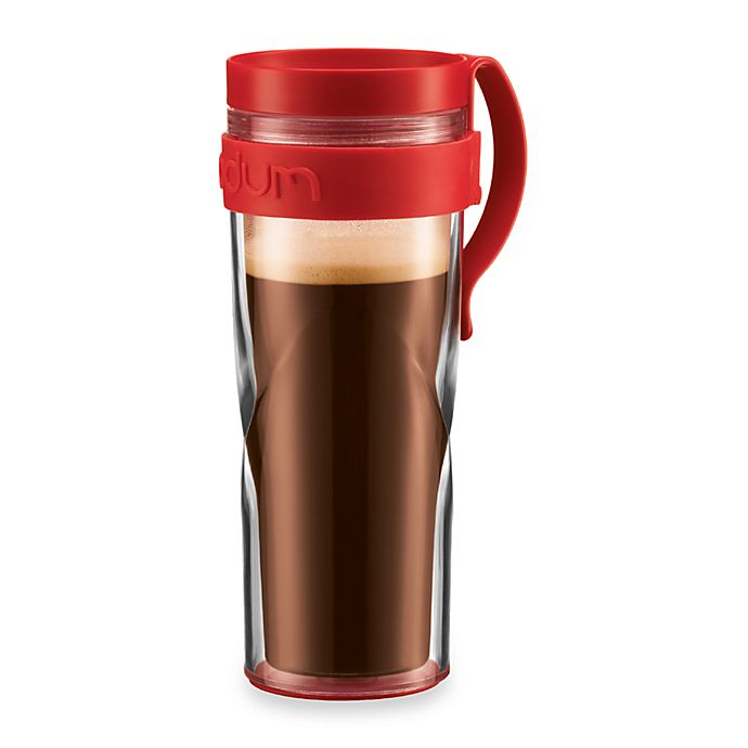 Alternate image 1 for Bodum® H2O Travel 15-Ounce Mug with Clip in Red