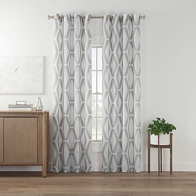 Alternate image 1 for Marco Geo Sheer 108-Inch Grommet Top Window Curtain Panel in Grey