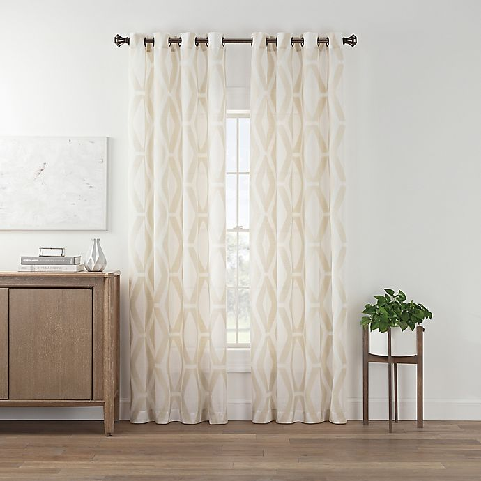 Alternate image 1 for Marco Geo Sheer 63-Inch Grommet Top Window Curtain Panel in Linen