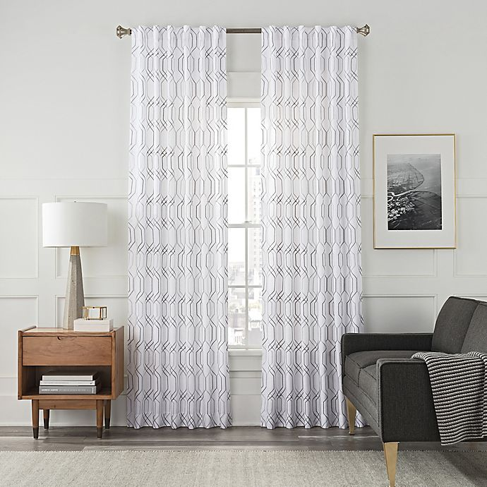 Alternate image 1 for Arden Embroidery 84-Inch Rod Pocket/Back Tab Window Curtain Panel in White