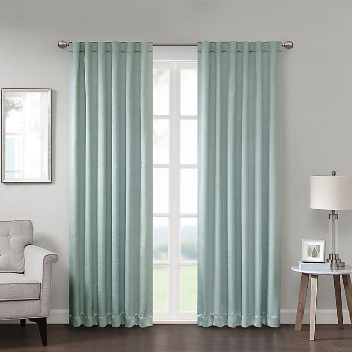 Alternate image 1 for Georgia 84-Inch Rod Pocket/Back Tab Room Darkening Window Curtain Panel in Aqua