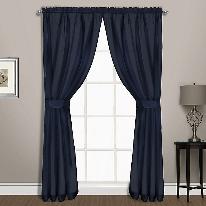 Alternate image 1 for Summit Sheer Voile 54-Inch Rod Pocket Window Curtain Panel Pair in Navy