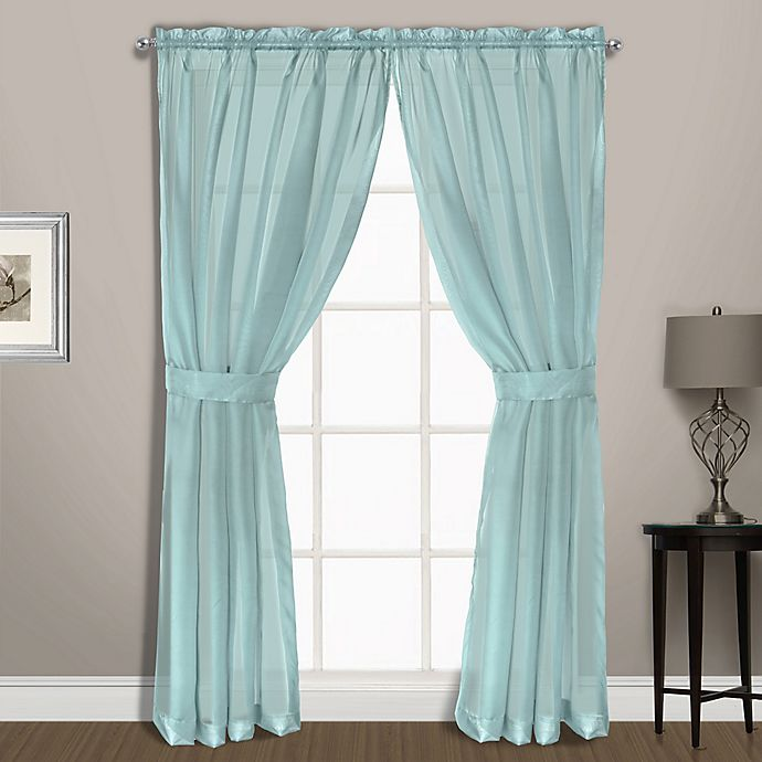 Alternate image 1 for Summit Sheer Voile 63-Inch Rod Pocket Window Curtain Panel Pair in Light Blue