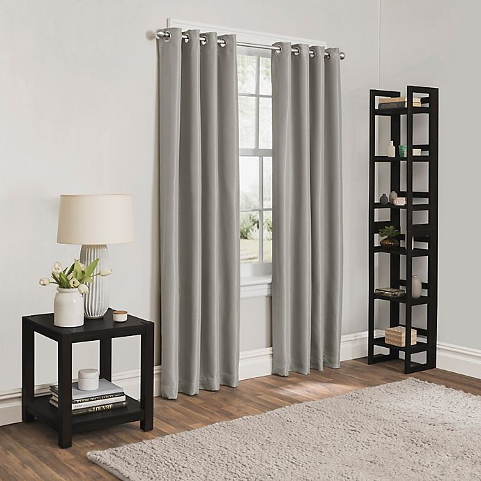 Alternate image 1 for Sebastian 108-Inch Grommet Room Darkening Window Curtain Panel in Stone