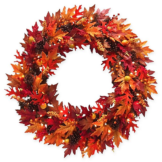 Alternate image 1 for National Tree Company® 36-Inch Pre-Lit Maple Wreath with Clear Lights