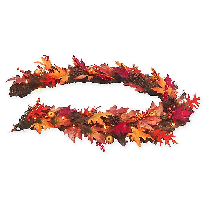 Alternate image 1 for National Tree Company® 6-Foot Pre-Lit Maple Garland with Clear Lights