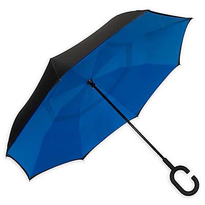 ShedRain® UnbelievaBrella™ Reverse Stick Umbrella in Blue