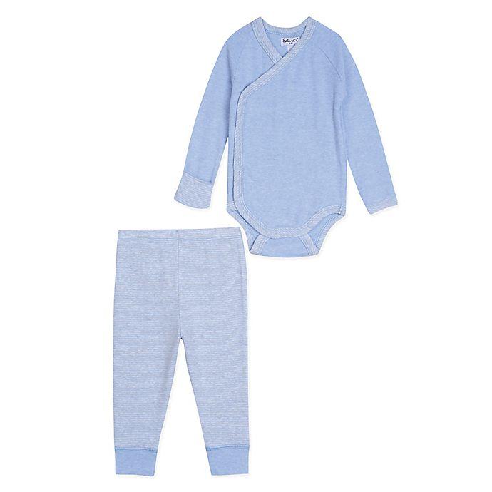 Alternate image 1 for Splendid Kids 2-Piece Kimono-Style Long Sleeve Heather Bodysuit and Pant Set in Blue