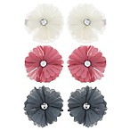 Capelli New York 6-Pack Chiffon and Gem Flower Hair Clips