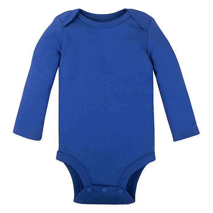 Alternate image 1 for Lamaze® Size 0-3M Organic Cotton Long Sleeve Bodysuit in Royal Blue