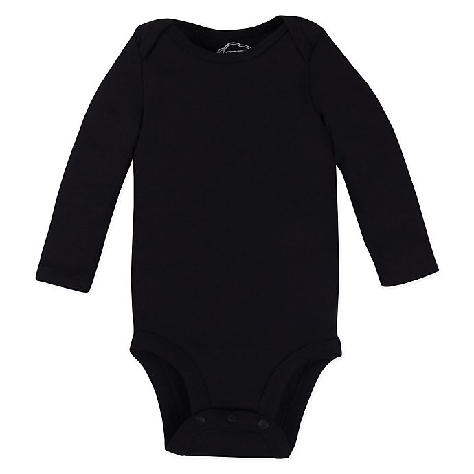 Alternate image 1 for Lamaze® Size 0-3M Organic Cotton Long Sleeve Bodysuit in Black