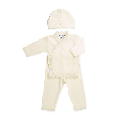 Sippy's Babes 3-Piece Take Me Home Top, Pant and Hat Set in Ivory