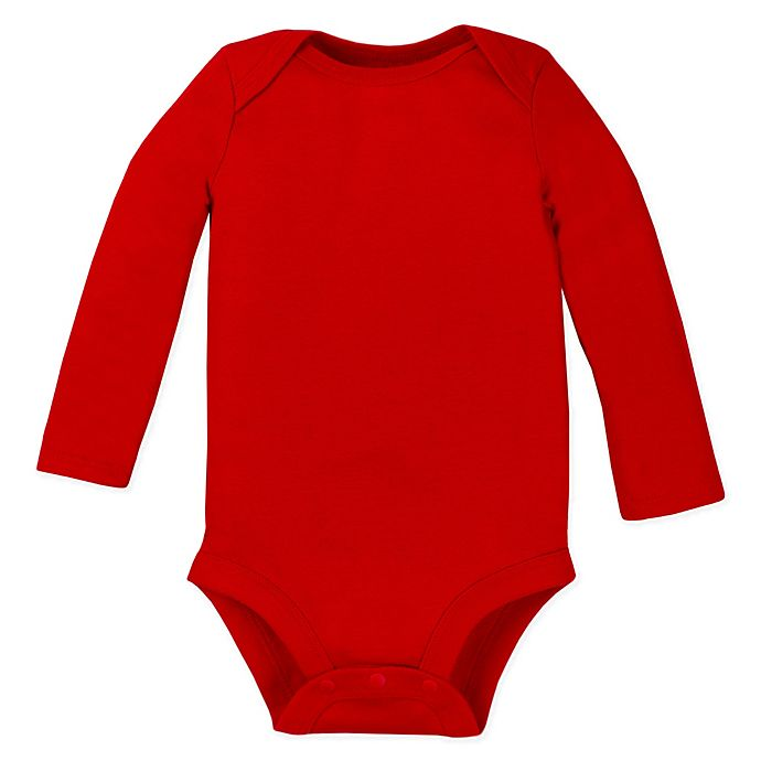Alternate image 1 for Lamaze® Size 0-3M Organic Cotton Long Sleeve Bodysuit in Red