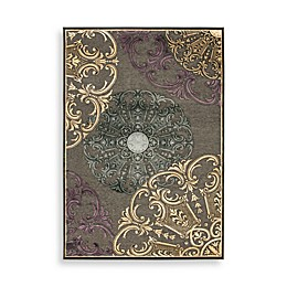 """Safavieh Paradise Collection Charcoal and Multi Large Medallions 4' x 5' 6"""" Rectangle Rug"""