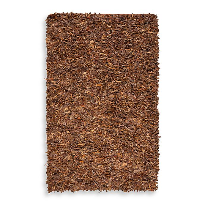 Alternate image 1 for Safavieh Leather Shag Rug Collection in Saddle