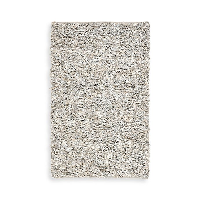 Alternate image 1 for Safavieh White Leather Shag 5-Foot x 8-Foot Rectangle Rug