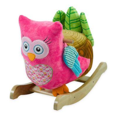 Rockabye Owlivia Pink Owl Chair Musical Rocker Buybuy Baby