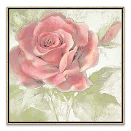 Sweet Rose on Linen I 18.88-Inch Square Framed Wall Art