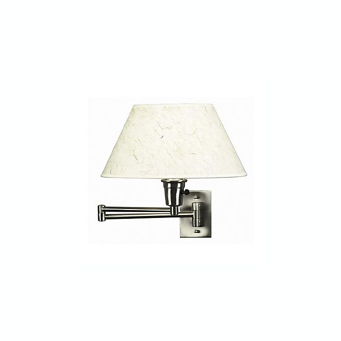 Alternate image 1 for Kenroy Home Brushed Steel Swing Arm Sconce Lamp with Natural Fiber Shade