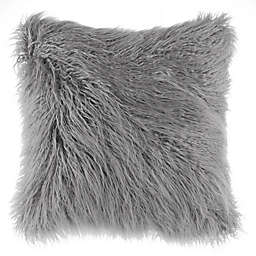 Flokati Faux Fur European Throw Pillow in Silver
