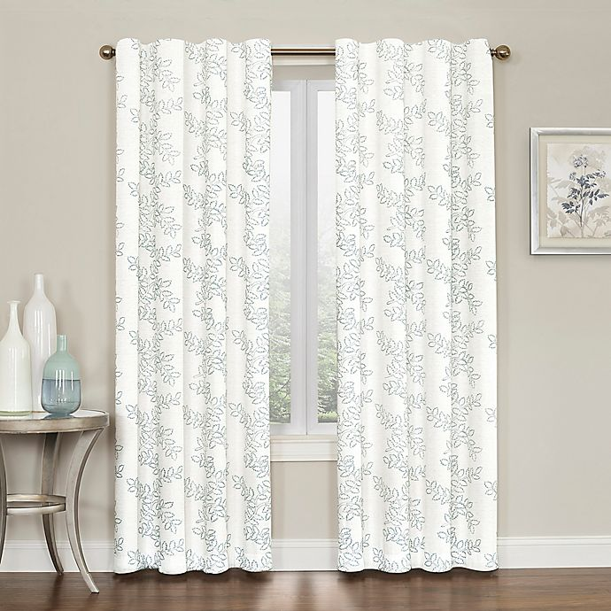 Alternate image 1 for Brielle Embroidery 84-Inch Rod Pocket/Back Tab Window Curtain Panel in Blue