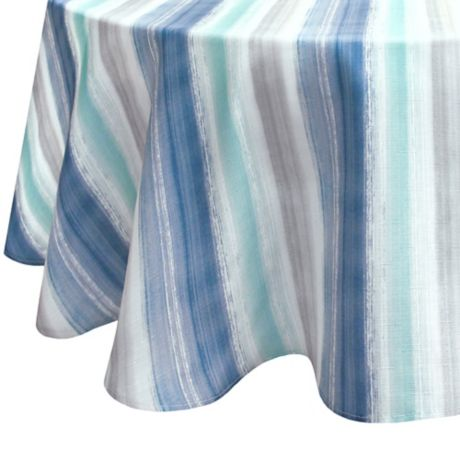 Colordrift Painted Stripe 70 Inch Round Tablecloth Bed