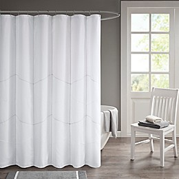 510 Design Codee Decorative Stitched Shower Curtain in White