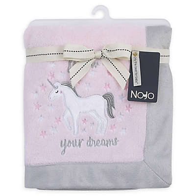 "NoJo® Unicorn ""Follow Your Dreams"" Baby Blanket in Pink"