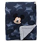 "Disney® Mickey Mouse ""Hello World"" Sherpa Baby Blanket in Navy"