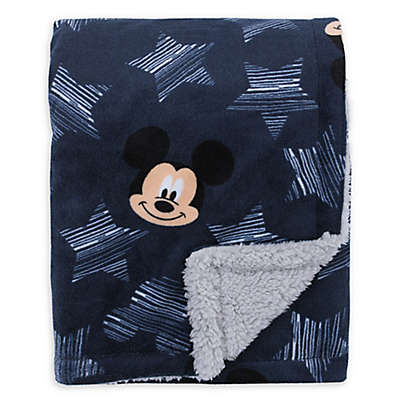 "Disney® Mickey Mouse ""Hello World"" Sherpa Baby Blanket in Navy"