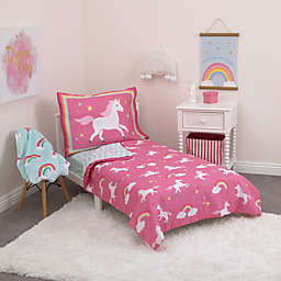 carter's® Rainbows and Unicorns 4-Piece Toddler Bedding Set in Pink