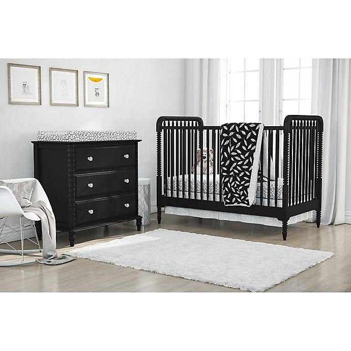 Alternate image 1 for Little Seeds 4-Piece Feathers Crib Bedding Set in Black