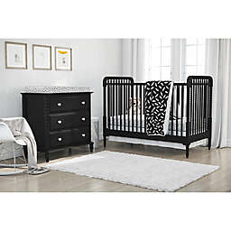 Little Seeds 4-Piece Feathers Crib Bedding Set in Black