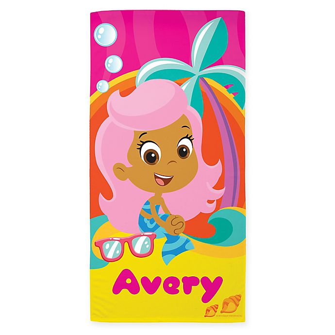 Alternate image 1 for Bubble Guppies™ Molly Beach Towel in Pink