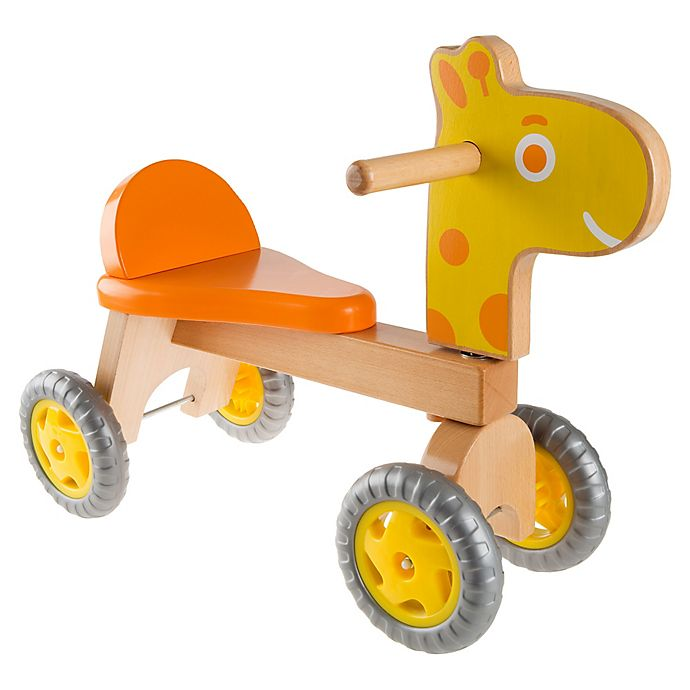 Alternate image 1 for Happy Trails Walk and Ride Wooden Push Ride-On Giraffe in Orange