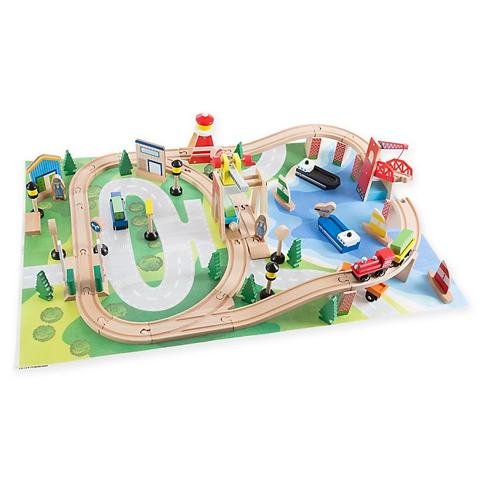 Alternate image 1 for Hey! Play! Wooden Train Set with Play Mat